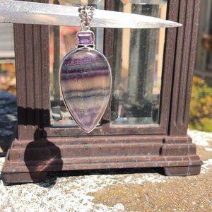 Jewelry - Fluorite Purple Quartz Sterling Silver Pendant